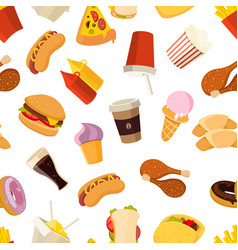 fast food seamless pattern vector image vector image