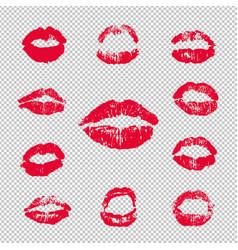 female lips lipstick kiss print set transparent vector image