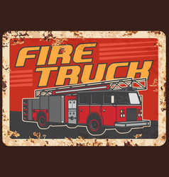 firefighters fire truck rusty metal plate vector image
