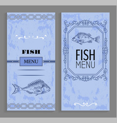 fish menu with linear silhouettes of perch vector image