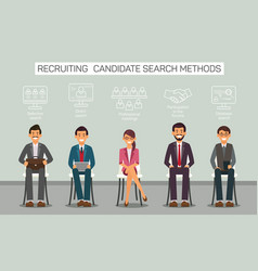 Flat banner recruitment candidate search methods vector