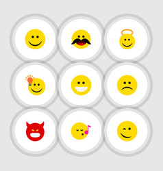 Flat icon expression set of descant joy cheerful vector