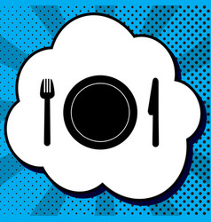 fork plate and knife black icon in vector image