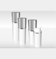 four airless bottles with a silver cap vector image
