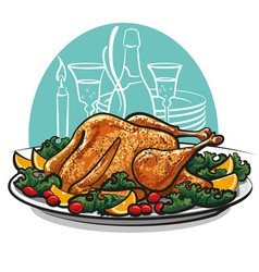 Garnished roasted turkey vector