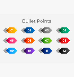 Geometric number bullet points from one to twelve vector
