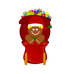 gingerbread cookie on a christmas sledge vector image