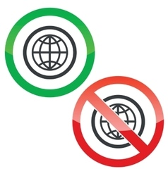 Globe permission signs vector image