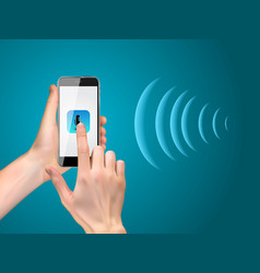 Hand with mobile phone with microphone button vector