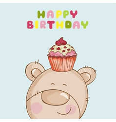 Happy Birthday Card - Baby Bear with Cupcake vector