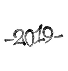 happy new year 2019 text design patter vector image