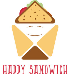 happy sandwich box abstract design template vector image