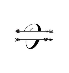 Initial o love monogram split letter isolated vector