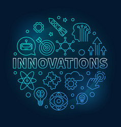 innovations round blue in vector image