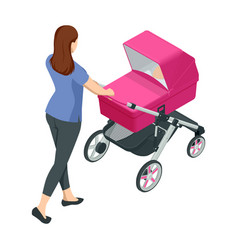 Isometric baby carriage isolated on a white vector