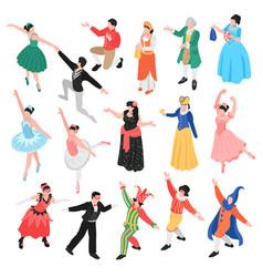 isometric ballet dancers set vector image