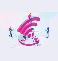 isometric people and wifi sign vector image