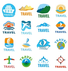 large set of logos for travel vector image