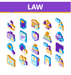 Law and judgement isometric icons set vector