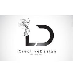 Ld letter logo design with black smoke vector