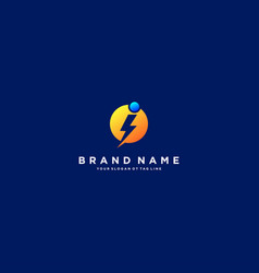 Letter i flash electrical logo design vector
