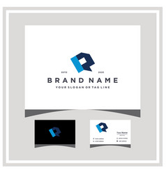 Letter pq logo design and business card vector