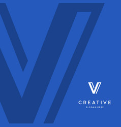 Letter v line with background blue creative logo vector