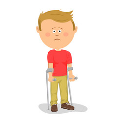 little boy standing with crutches vector image