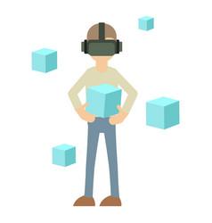 Man in futuristic glasses icon cartoon style vector