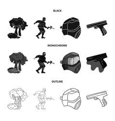 mask gun paint inventory paintball set vector image