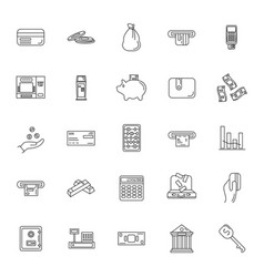 money set icon outline style vector image