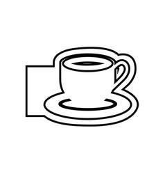 Monochrome contour emblem of coffee cup vector