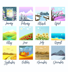 nature landscapes four seasons months calendar vector image