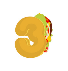 Number 3 tacos mexican fast food font three taco vector