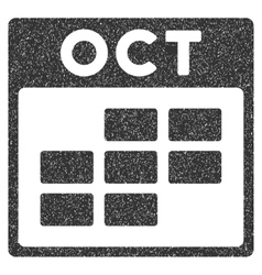 October Calendar Grid Grainy Texture Icon vector