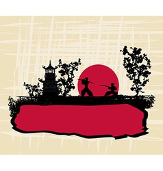 old paper with silhouette Samurai vector image