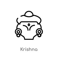 Outline krishna icon isolated black simple line vector