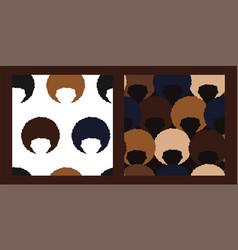 Patterns set black people vector