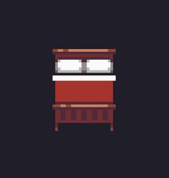 Pixel art bed vector