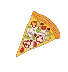 Pizza Slice With Sweet Pepper And Onion vector image