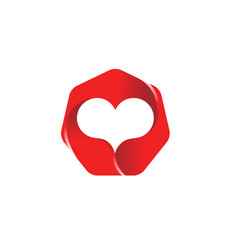 polygon heart logo vector image