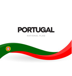 portuguese waving flag banner portugal vector image
