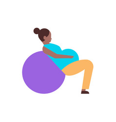 Pregnant woman sitting on gymnastic ball doing vector