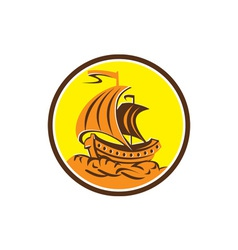 Sailing Galleon Ship Circle Retro vector image