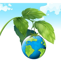 Save the world theme with earth and plant vector image