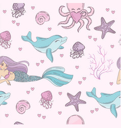 sea pattern mermaid underwater tropical ocean vector image