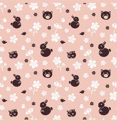 seamless pattern with sakura vector image