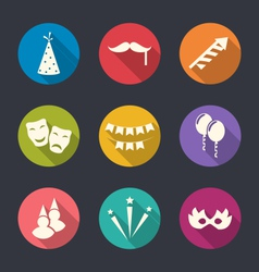Set flat icons of party objects with long shadows vector image