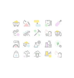 Set line icons coal mining vector
