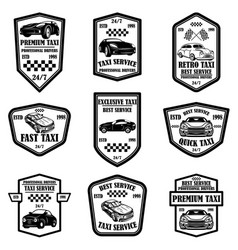 set taxi service emblems design elements for vector image